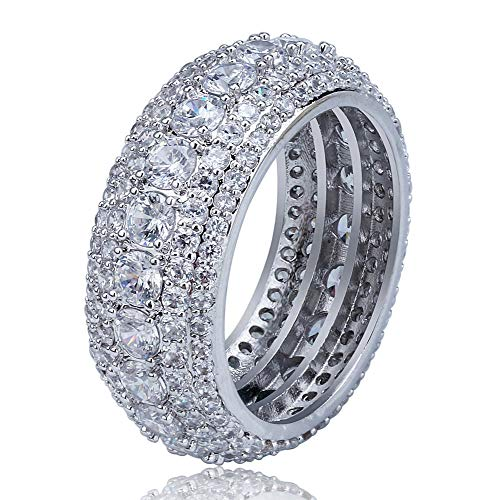 SHINY.U 5 Row 10mm Gold Plated Bling Iced Out CZ Royal Simulated Diamond Eternity Wedding Engagement Band Ring for Men Hip Hop (White Gold, 8) ()
