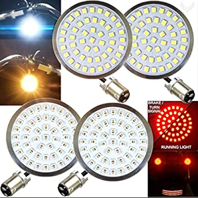 Eagle Lights LED Generation II Turn Signals with White Running Lights Front (1157) and Rear (1157) LED Turn Signal Kit, No Smoked Lenses for Harley Davidson: Automotive