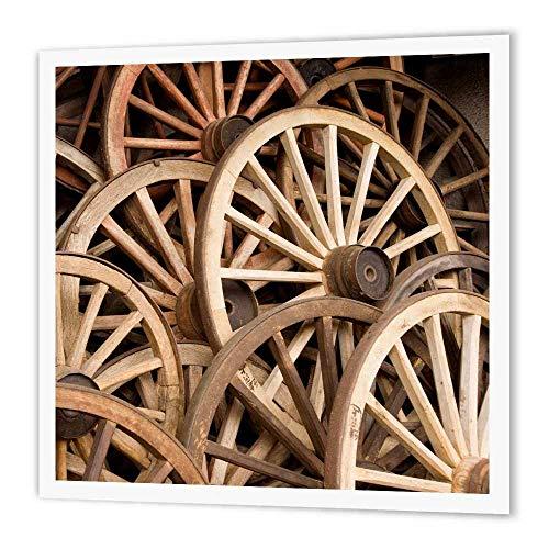 3dRose ht_69817_3 Japan, Gifu, Takayama, Antique Wagon Wheels-John and Lisa Merrill-Iron on Heat Transfer for Material, 10 by 10-Inch, White