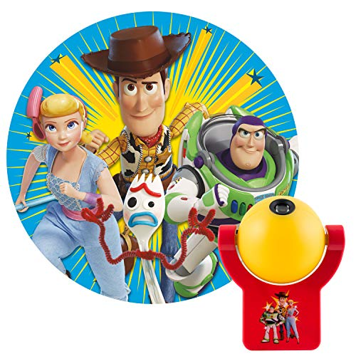 Projectables 45057 Disney Toy Story 4 LED Plug-in Night, Light Sensing, Auto Buzz Lightyear, Sheriff Woody, Bo Peep, Forky On Ceiling or Wall, for Bedroom, Playroom, Nursery, 1-Image, Red and -