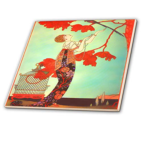 3dRose lens Art by Florene - Art Deco - Image of Asian Style Art Deco Lady Bird Cage And Red Trees - 4 Inch Ceramic Tile (ct_313441_1)