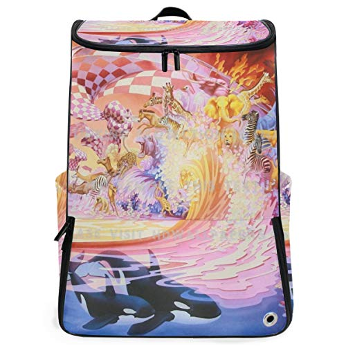 Travel Backpack Abstract Zoo College Backpack for Men Big Boxy Daypack