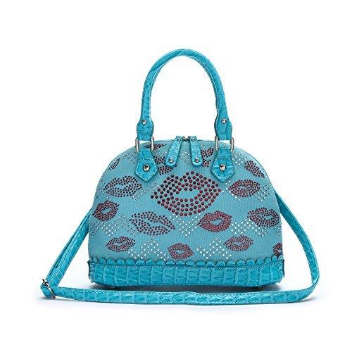 Western Fashion Handbag - Red Lips All Over Top Handle Dome Bag
