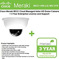 Cisco Meraki MV21 Cloud Managed Indoor HD Dome Camera with 3 YR MV Ent. License