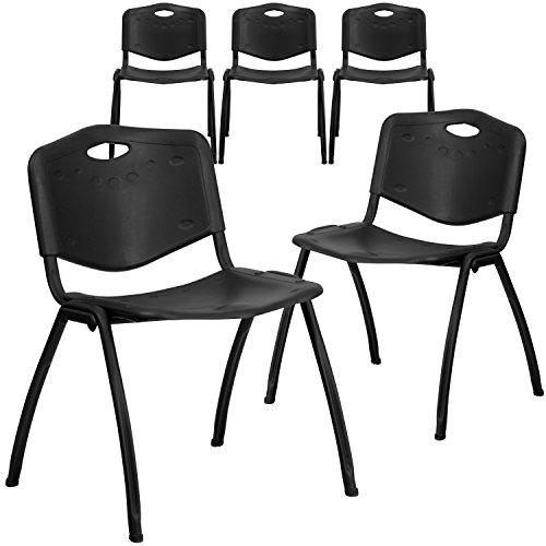 Flash Furniture 5 Pk. HERCULES Series 880 lb. Capacity Black Plastic Stack ()