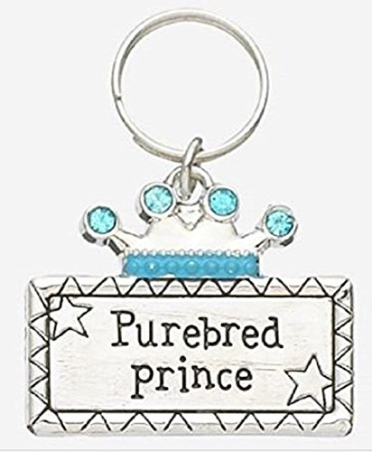 GanzBusiness Crystal Crown Pet Collar Charm - Choose from Pink Purebred Princess or Blue Purebred Prince (Blue Prince) ()
