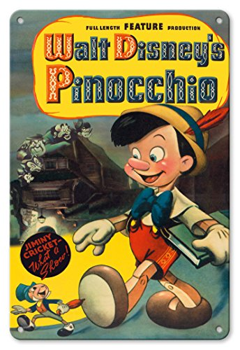 Pacifica Island Art 8in x 12in Vintage Tin Sign - Walt Disney's Pinocchio - with Jiminy Cricket