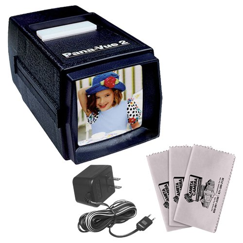 Pana-Vue 2 Lighted 2x2 Slide Film Viewer with AC Adapter + (3) Microfiber Cleaning Cloths (Scanner Pana Vue Slide)