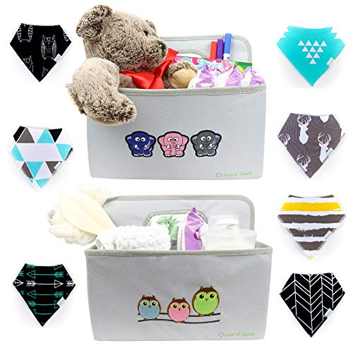 Land of Goods Collapsible Diaper Caddies and 8 Pack of Baby Bandana Bibs for Girls and Boys on Newborn Registry | Diaper Caddy Organizers| Portable Car Tote Holder