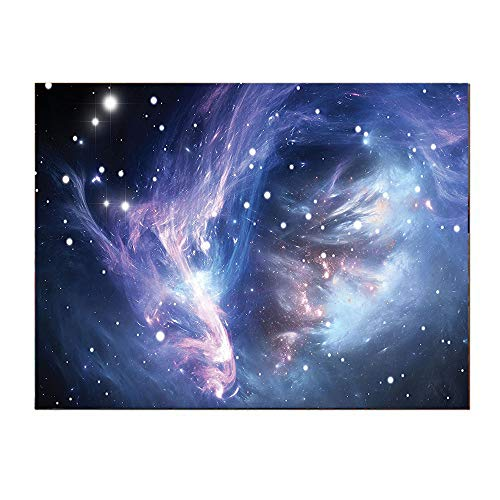 SATVSHOP Wall Art for Bedroom painting-16Lx12W-Mysterious Nebula Gas Cloud in Deep Ouuter Space with Star Cluster Universe Solar Navy Purple.Self-Adhesive backplane/Detachable Modern Decorative Art.