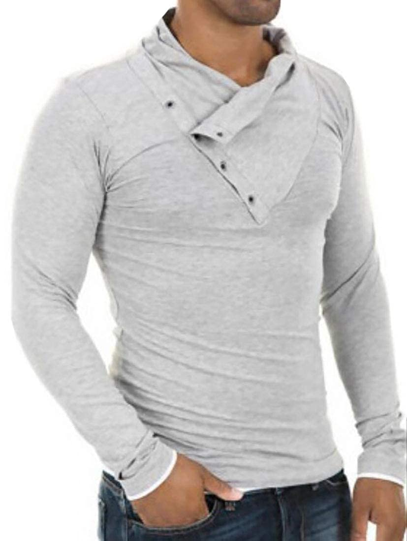 Generic Mens Long Sleeves T-Shirts Turtleneck Cowl Collar Fashion Pullover Tops