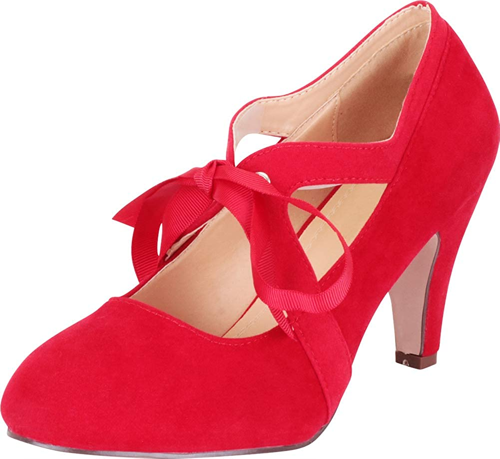 Red Imsu Cambridge Select Women's Retro 1920s Vintage-Inspired Ribbon Bow Chunky High Heel Pump