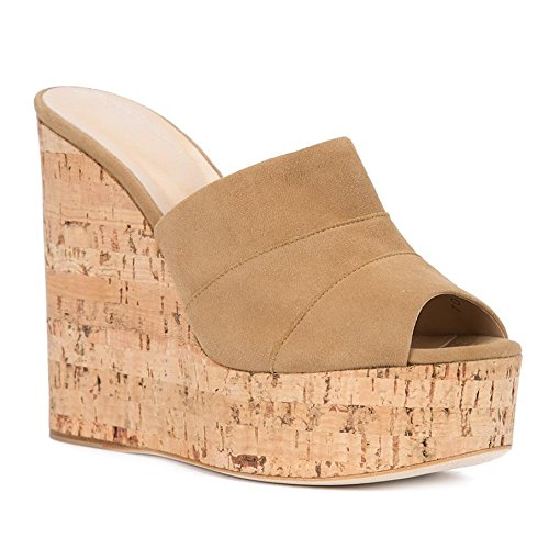 Amy Q Women's Faux Suede Brown Peep Toe Cork Wedge Mules Platform Slides High Heel Sandals, Size 35