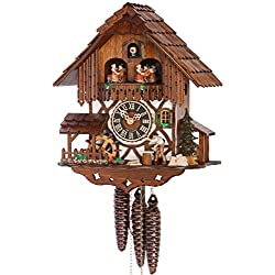1 Day Musical Black Forest Chalet Cuckoo Clock with Wood Chopper By Hönes