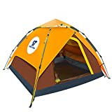 Yongtong Backpacking Tent, 3-4 person 4 Season Double Layer Tents, Automatic Pop Up, 1 Door 1 Window, Anti-UV Windproof Waterproof, with Carry Bag, for Camping/Hiking/Travel/Hunting (Yellow&Brown) Review