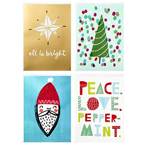Peace Christmas Card - Hallmark Studio Ink Christmas Boxed Cards Assortment, Peace Love Peppermint (12 Cards with Envelopes)