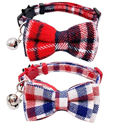 UIUIX 2 Pack Cat Collar Breakaway with Bowtie and Bell for Kitty, Cat Bowtie Collar Adjustable 7.8-10.5 Inch (Plaid Red & - Kitty Collar Adjustable