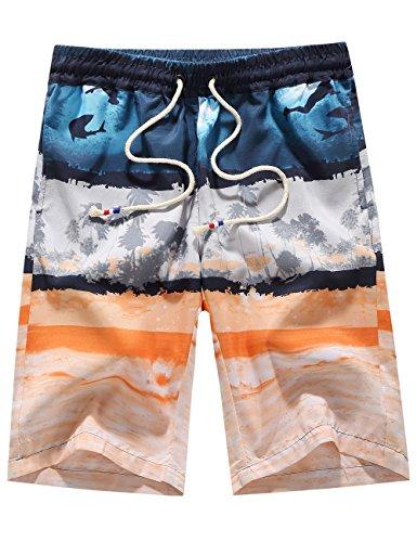 Grey Hawaiian Print Boardshorts - 2