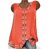 T Shirt Dress,Women Casual Sleeveless Print Solid Fashion Loose Plue Size Tops Shirt Blouse