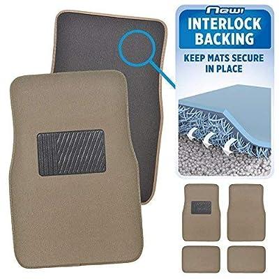 BDK Interlock Car Floor Mats - Secure No-Slip Technology for Automotive Interiors - 4pc Inter-Locking Carpet (Beige): Automotive