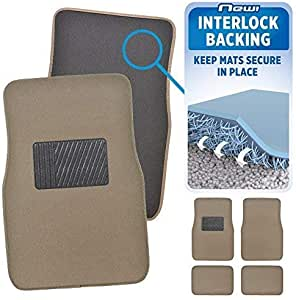 SUV Beige Tan Front and Rear AW Semi-Carpet Rubber Floor Mats Set 4 pc SM