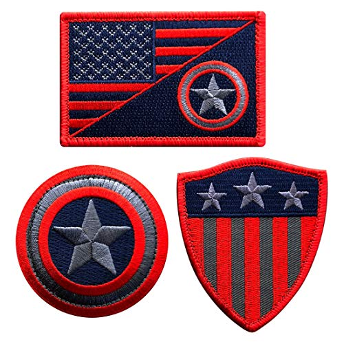 Subdued Captain America Shield Embroidered Patch [3pc set Hook Fastener)