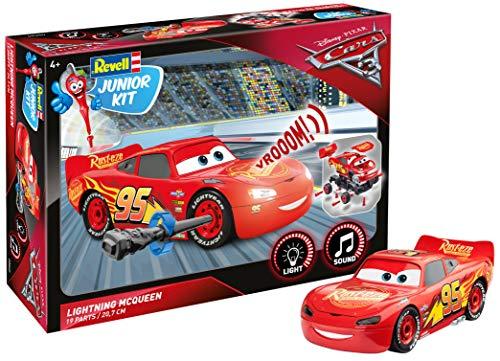 Lightning McQueen von Revell Junior Kit - Disney Cars 3 - cooler Bausatz für Kinder ab 4 Jahren zum Schrauben, Basteln und Spielen, robust, mit Light & Sound Effekten - - Kit Lightning Mcqueen