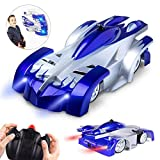 Remote Control Car USB Rechargeable RC Wall Climbing Car with LED Light Mini Control Dual Mode 360° Rotating Stunt Car Gravity Defying Toys for Kids Boy Girl Christmas Birthday Gift Blue