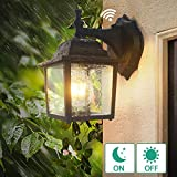Dark to Dawn Sensor Outdoor Wall Lanterns, Lamomo Wall Sconce Porch Light Fixture with E26 6W Led Light Bulb, UL Listed Anti-Rust Waterproof Black Lamp for Garden, Porch, Villas, Court-Yard