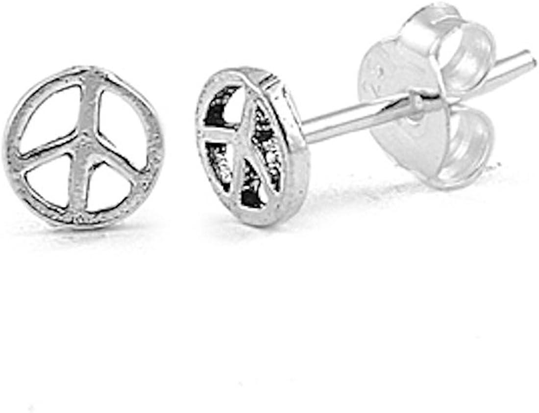 Plain Peace Sign Stud 925 Sterling Silver Push Back Earrings