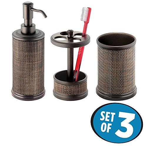 mDesign Bath Accessory Set, Soap Dispenser Pump, Toothbrush Holder, Tumbler - 3 Pieces, Bronze