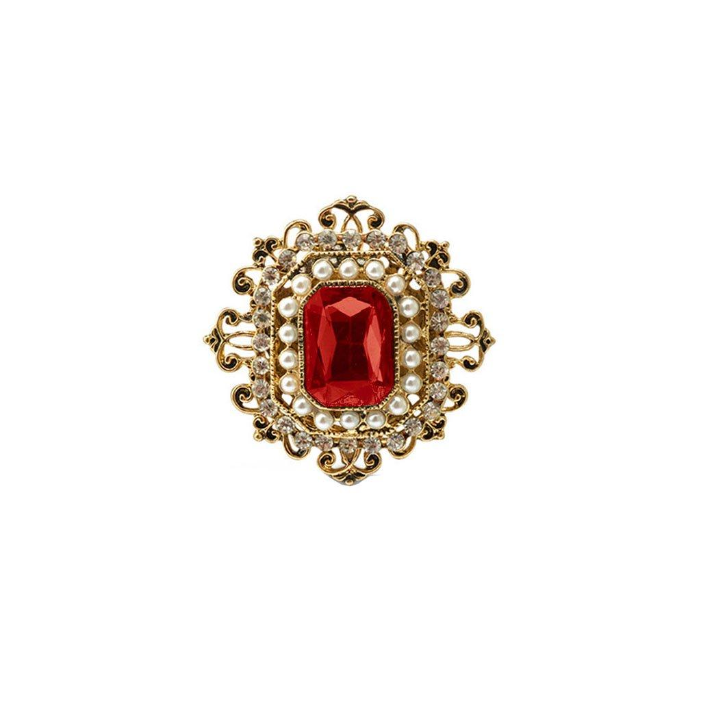Retro estilo victoriano cristal rub/í flor broche Pin regalo se/ñoras accesorios 2/colores