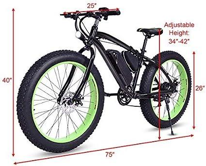 Goplus Bicicleta eléctrica 26 Pulgadas, Bicicleta de montaña, Playa, Nieve, Bicicleta, llanta de Grasa, Velocidad de hasta 12,5 mph con 3 Modos de conducción, batería de Litio extraíble de 36 V: Amazon.es: