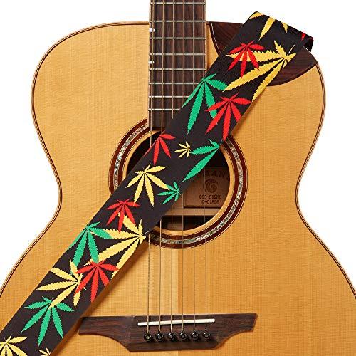 Amumu Marijuana Hemp Leaf Guitar Strap Jamaica Rasta Polyester Cotton for Acoustic, Electric and Bass Guitars with Strap Blocks & Headstock Strap Tie - 2