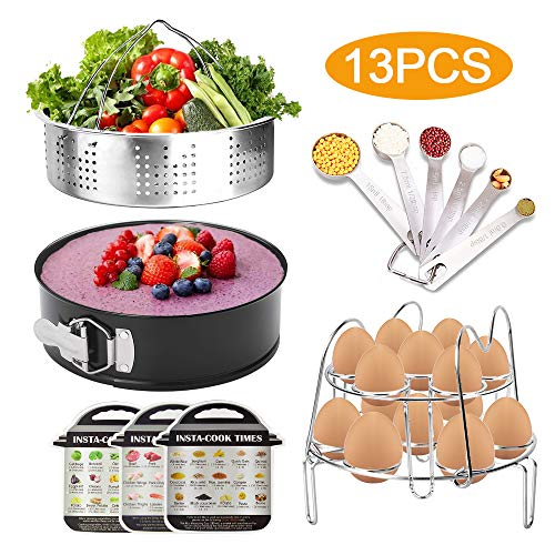 13Pcs Accessories for instant pot 8 6 5Qt with 2 Egg Rack, 304 Stainless Steel Steamer Basket, Non-Stick Springform Pan, 3 Pack Magnetic Cheat Sheet and 6 Measuring ()