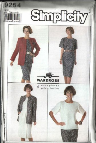 - Simplicity 9254 Sewing Pattern, for Slim Waistband Zip Skirt, Cardigan Jacket, Back Neck Opening Top, Jiffy Easy Sew Wardrobe