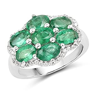 Emerald Zambian Oval and White Zircon .925 Sterling Silver Ring 3.15ctw. from Johareez