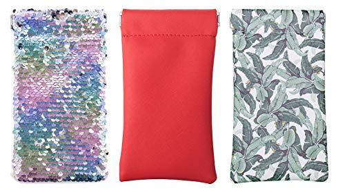 A Sund Womens and Mens Squeeze Sunglass Pouch Case Eyeglasses Holder with Micfiber Wipes Pack of 3 -