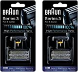 BRAUN 30B 7000 Series 4000 Series Mens Shaver Foil + Cutter Set Head Replacement, 2 Count