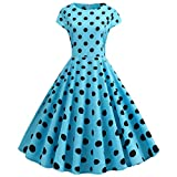 GOWOM Women Vintage 1950s Retro Short Sleeve Dot Print Evening Party Prom Swing Dress(Blue-2,XX-Large)