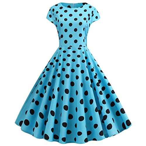Alangbudu Women's V Neck Cap Sleeve Polka Dot Audrey Hepburn 50s Retro Rockabilly Swing Cocktail Party Flowy Prom Dress Blue