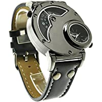 Aposon Mens Dual Time Quartz Analog Wrist Watch with Unique Dual Dial Design,Steel Case,Comfortable Leather Band...
