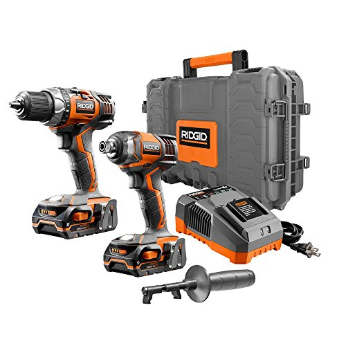 Ridgid 18-Volt 1/2 in. Drill/Driver (R86008) and Impact Driver Kit (R86034) in Hard Case (Cordless Ridgid Tool Set Power)