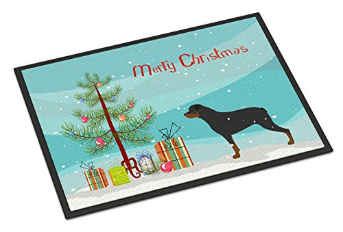 - Caroline's Treasures Rottweiler Merry Christmas Tree Indoor or Outdoor Mat 18x27 BB2984MAT 18