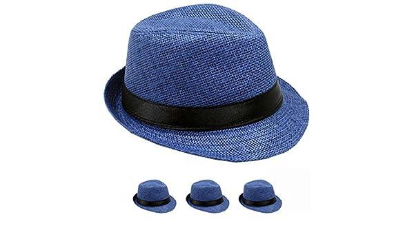 Amazon.com  LAFashionist Kids Boy Girls Straw Fedora Hat Summer Trilby Hats  (Navy)  Clothing 94584266b540