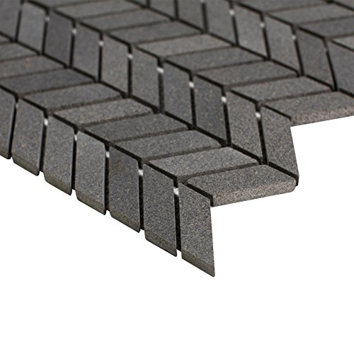 Maykke 12'' x 11'' Holden Chevron Mosaic Wall and Floor Tile | Backsplash for Kitchen, Bathroom, or Laundry Room | 9 Sq Ft Basalt (10-Pack), YOA1000101 by Maykke