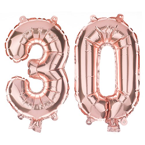 Non Foil (Non-Floating 30 Number Balloons Small Decoration 30th Birthday or Anniversary Party, 13 Inch, Decorations and Supplies (Rose Gold))