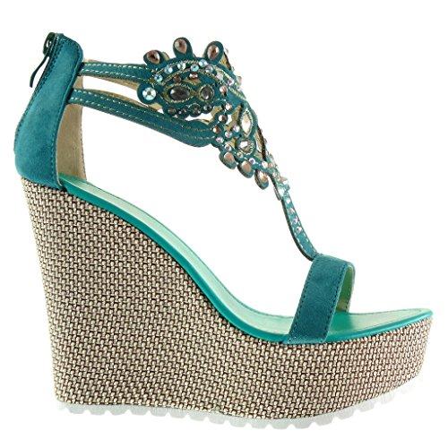 Angkorly - Chaussure Mode Sandale salomés plateforme femme bijoux brodé Talon compensé plateforme 13 CM - Bleu