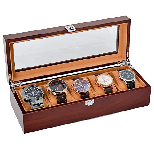 JINDILONG Watch Case for Men 5 Slots Solid Wood Storage Organizer Display Box Large Holder and ()