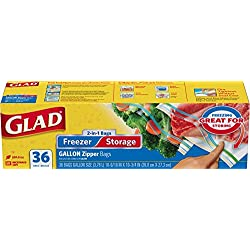 Glad Food Storage and Freezer 2 in 1 Zipper Bags - Gallon - 36 Count (Pack of 3)